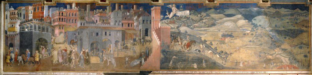 L'allégorie des effets du bon gouvernement – Ambrogio Lorenzetti – 1338 – Palazzo Pubblico – Sienne – Italie